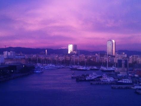 Barcelona Hafen Sonnenuntergang