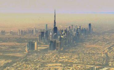 Dubai Airport - Blick auf Wolkenkratzer in der Wüste 13