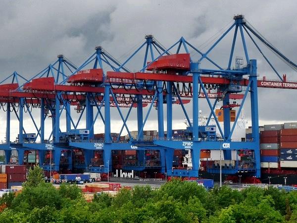 Hamburg Moorburg Blick Container Terminal