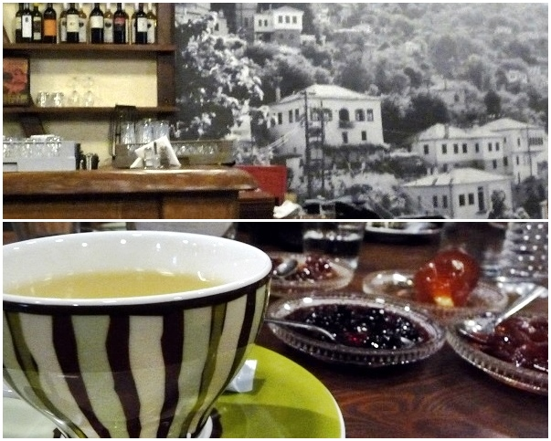 Makrinitsa Bergtee im Restaurant