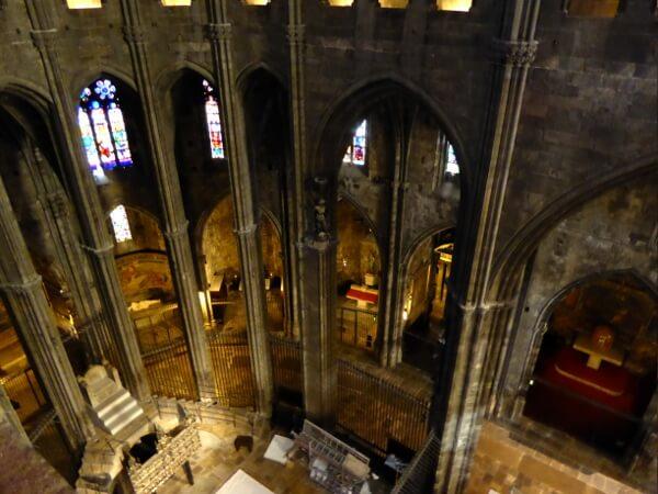 Kathedrale Girona von oben blick auf Thron Carlemany