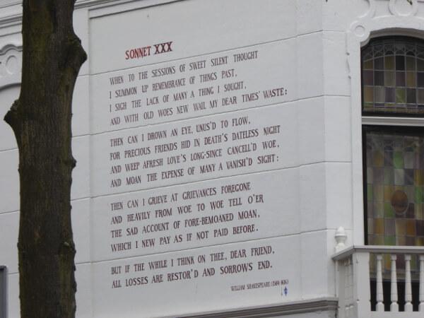 Gedichte an der Wand Shakespeare Leiden
