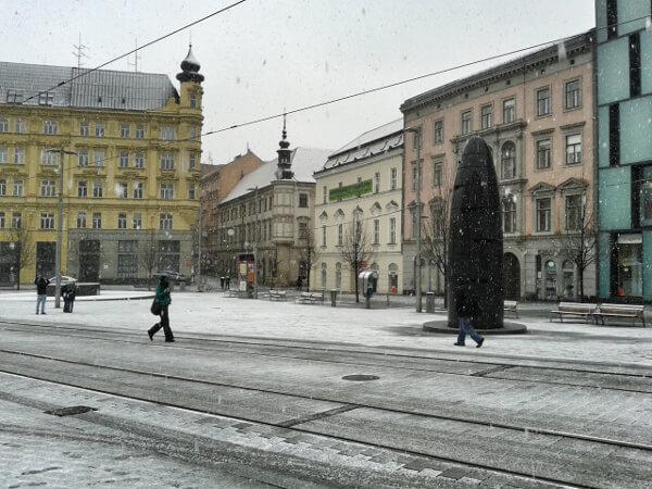 Zentrum altstadt Brno im Schnee
