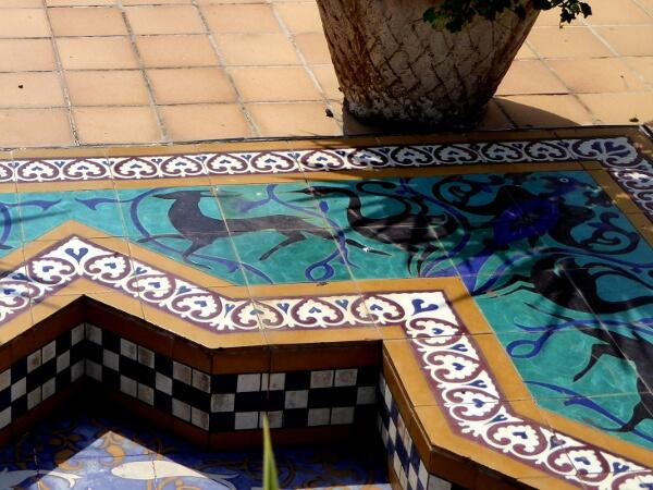 Detail Deko Brunnen Terrasse