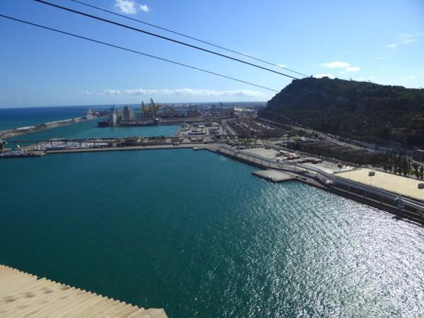 Barcelona Seilbahn Blick Hafen