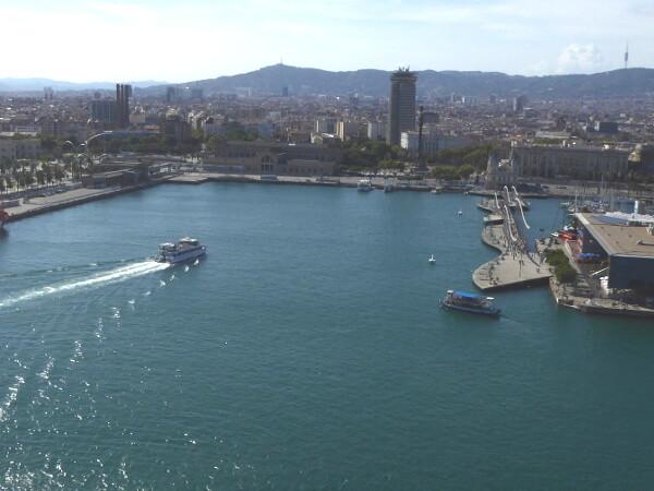 Barcelona Teleferic hafen blick aus der seilbahn