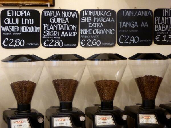 Bologna Caffee Terzi exotische Kaffees