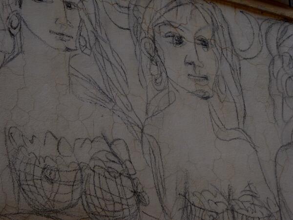 biennale del Muro dipinto Frau mit bleistift