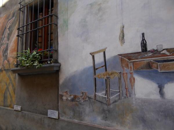 biennale del Muro dipinto stuhl und tisch
