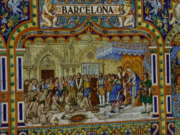 Plaza España Sevilla barcelona Ankunft Columbus