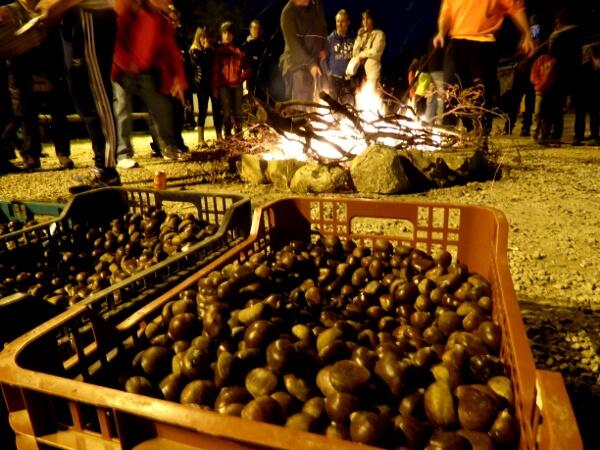 Viladrau Feuer Kastanien