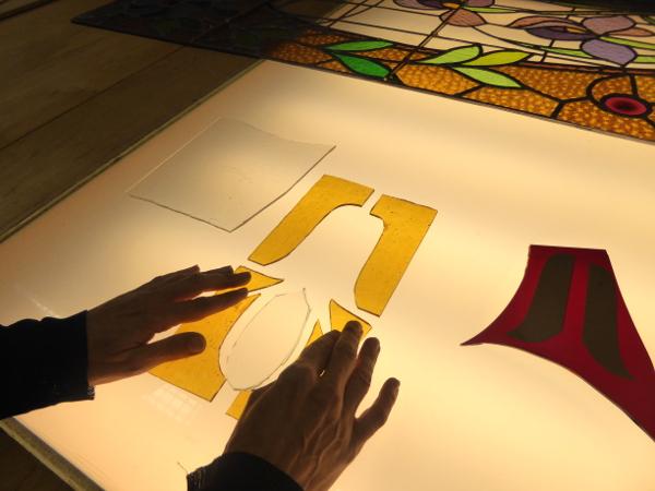 Bleiglasfenster Schablone Vorbereitung
