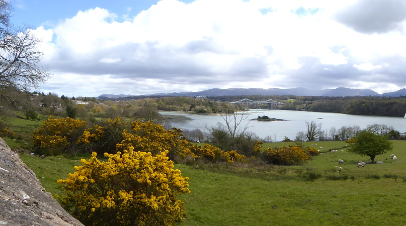 Anglesey Menai Bridge Wales.Panorama
