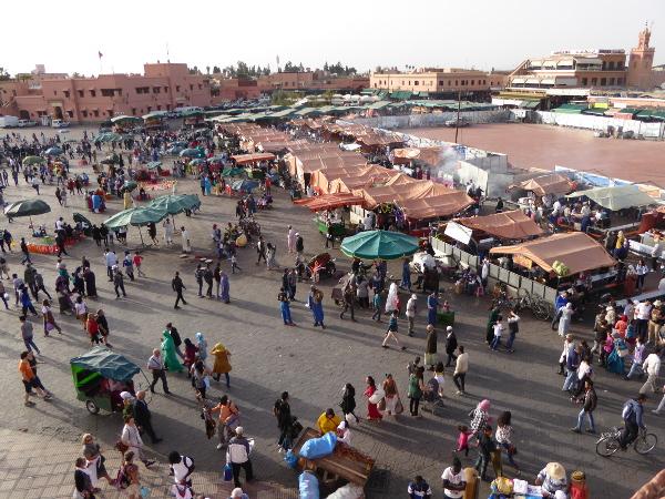 djemaa el fna marrakesch von oben freibeuter reisen