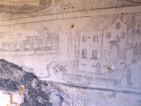 Castelldefels zeichungen an der wand der kirche burg freibeuter reisen