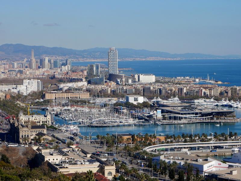 Maremagnum beste Aussicht auf Barcelona und Hafen vom Castell Montjuïc