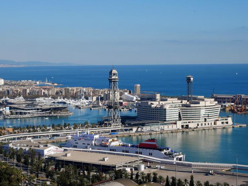WTC beste Aussicht auf Barcelona und Hafen vom Castell Montjuïc
