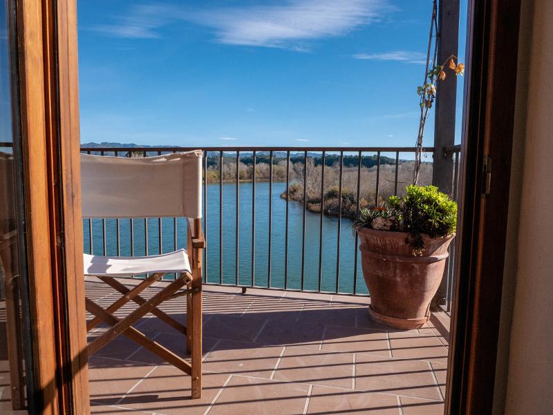 balkon blick auf Ebro Miravet